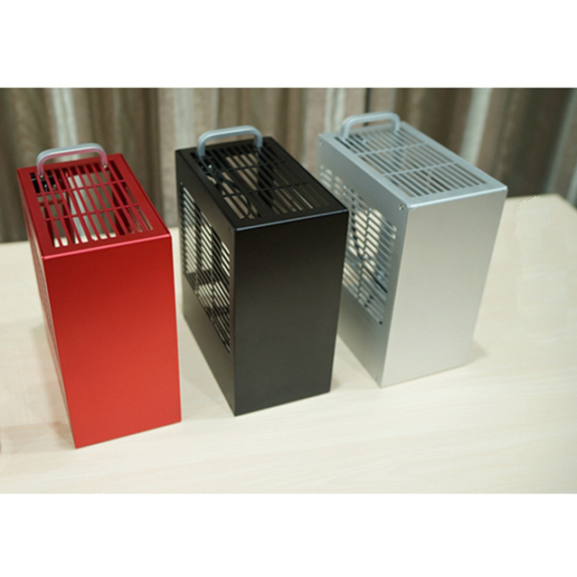 Open case HTPC ITX Mini Home theater computer A4 gamer graphics card PSU housing aluminum box desktop PC enclosure chassis(China)