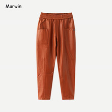 Marwin 2021 New-Coming Winter Pu Leather Pockets Full Length Women Pants High Street Style Elastic Waist Female Leather Pants