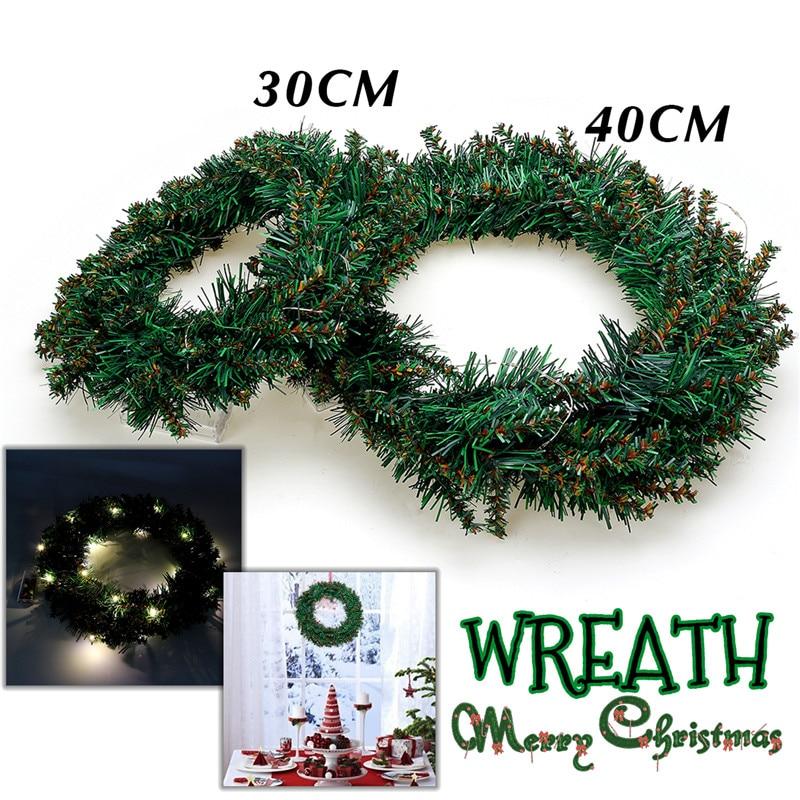 30/40cm Led Light Christmas Home PVC Circles Garland Warm Color Light Wreath Door Hanging Shop Hotel Window Decoration