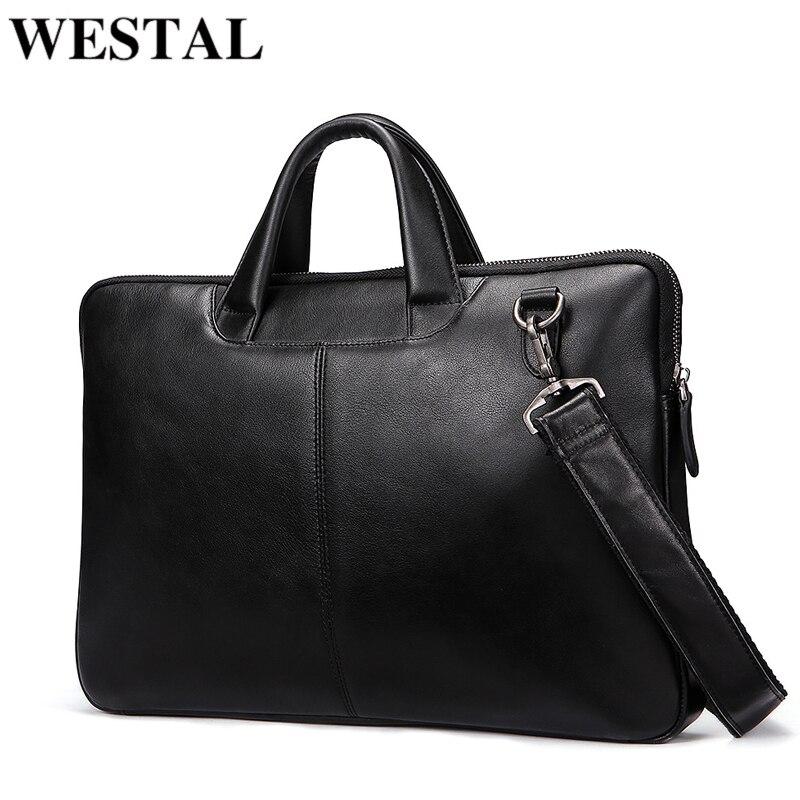 WESTAL Men's Bag Genuine Leather Messenger Bag Men Leather Laptop Briefcase For Men Computer Bags Men Briefcases For Laptop
