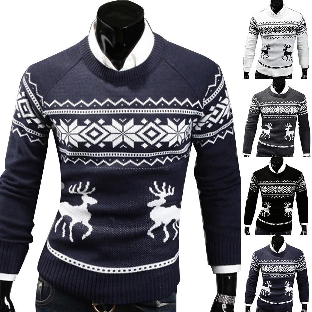 New Men's Sweater Christmas Men's Deer Print Round Neck Pullover Business Casual Slim Long-sleeved Bottoming Sweater Sweater