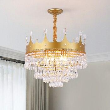 Golden crown led chandelier for dining living room shop led hanging chandelier lamp fixture Matte black/crystal/gold finished