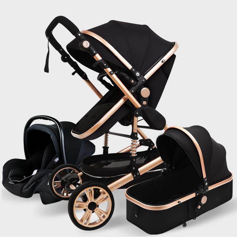 Luxury Baby Stroller 3 in 1 High Landscape Pram foldable pushchair Car Seat new