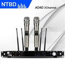 Ntbd microfone sem fio profissional, microfone com desempenho em palco para casa ktv ing speak ad4d uhf