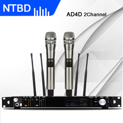 NTBD Stage Performance Home KTV Sing Speak AD4D UHF Professional Dual Wireless Microphone True Diversity Dynamic High Quality