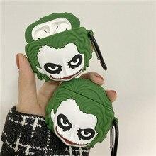 Роскошный 3D фильм клоун Джокер Аватар имитация из силикона чехол для Apple AirPods 1 2 Bluetooth аксессуары милый чехол coque fundas