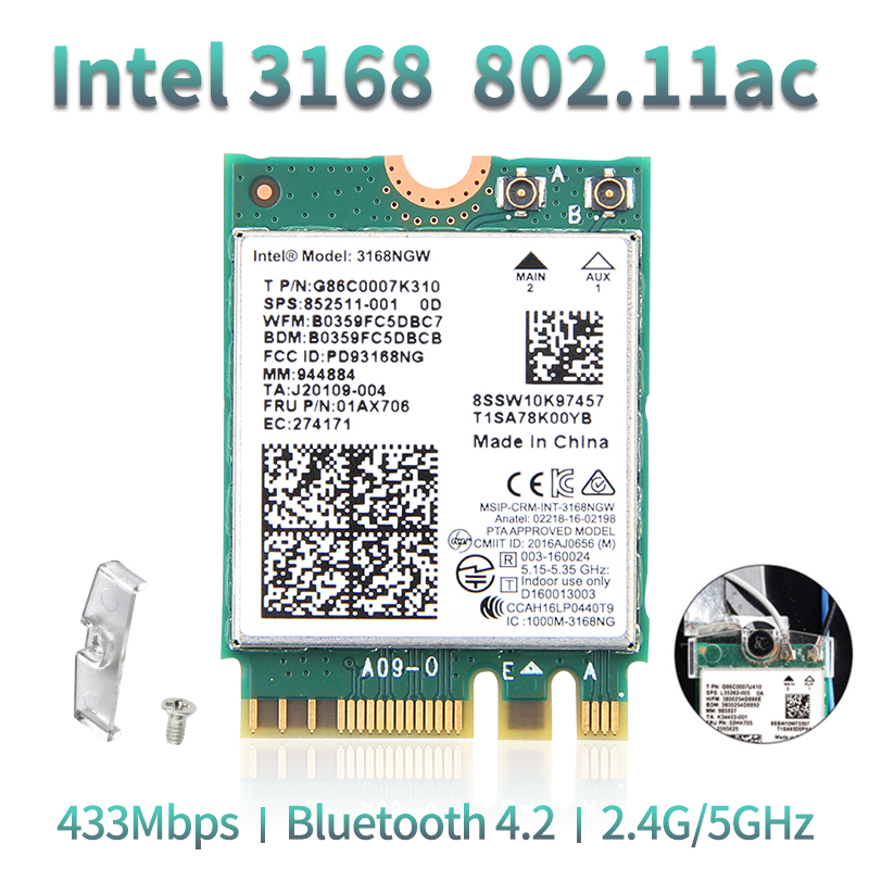 Dual Band Wireless Wlan For Intel 3168 AC 3168NGW NGFF M.2 802.11ac Wifi Bluetooth 4.2 Card 2.4G/5Ghz Network Wi-Fi Adapter