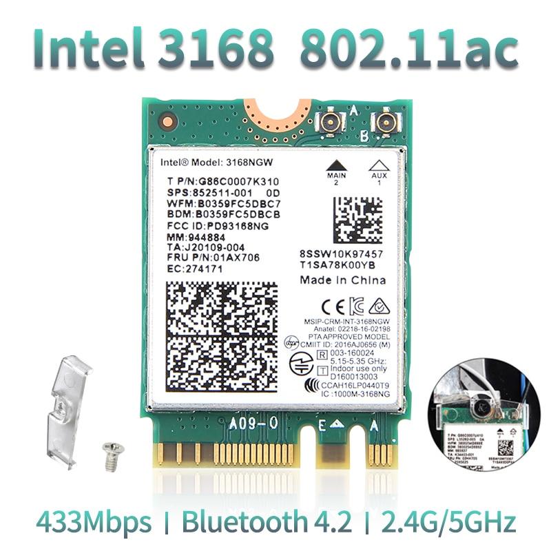 Dual Band Wireless Wlan For Intel 3168 AC 3168NGW NGFF M.2 802.11ac Wifi Bluetooth 4.2 Card 2.4G/5Ghz Network Wi-Fi Adapter