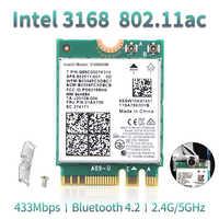 Wlan inalámbrico de doble banda para Intel 3168 AC 3168NGW NGFF M.2 802.11ac Wifi Bluetooth 4,2 tarjeta 2,4G/5 Ghz adaptador de red Wi-Fi