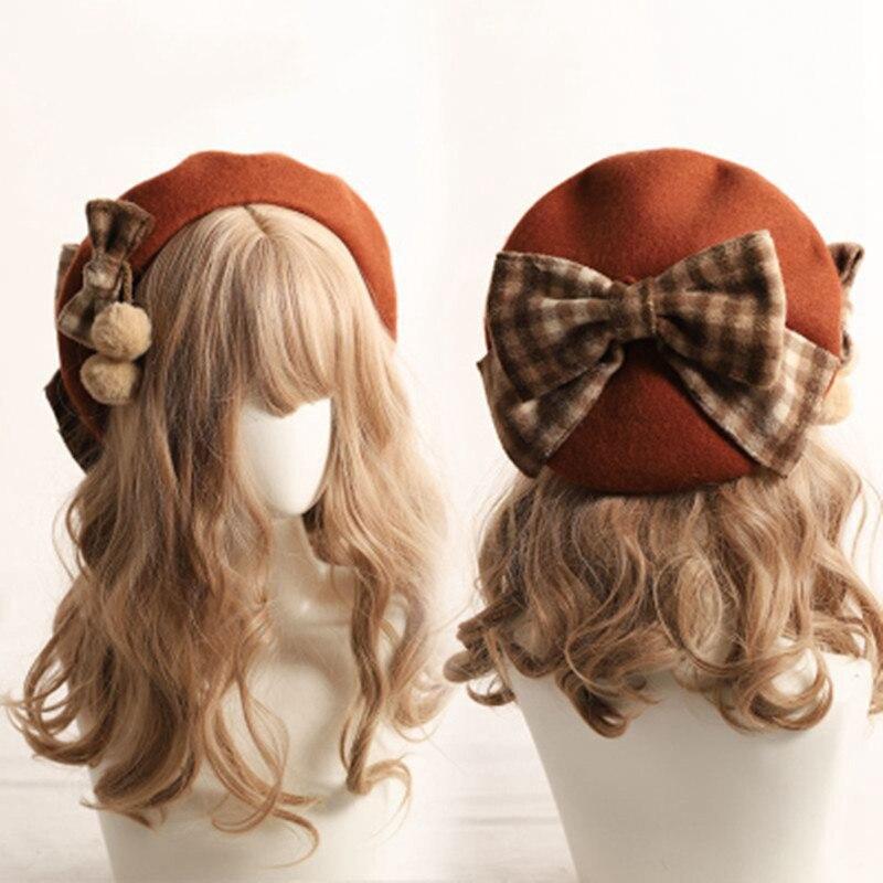 Winter cute beret Women new British fashion retro big bow plaid painter hat Girl female Beanies Wholesale 2020