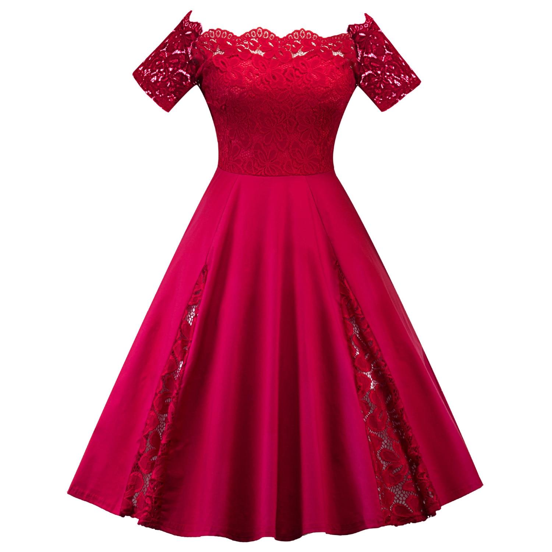 Plus Size Cocktail Dress 2020 Elegant Boat Neck Off Shoulder Lace Short Sleeve Solid Color Party Dress Maxi Size 3XL 4XL 5XL