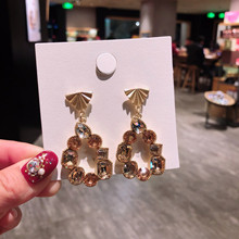 Korean Fashion luxury geometric Crystal baroque  bohemian african indian jewelry crystal trendy rhinestone earrings