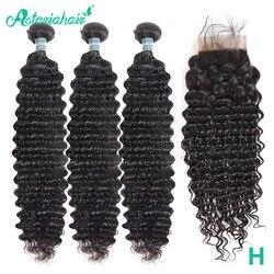 Asteria Hair-mechones brasileños de ondas profundas con cierre, extensiones de pelo ondulado mechones con cierre, pelo Remy, 3 uds.
