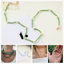 BOAKO Beads Necklace Women Girls Chokers Flower Collar White Pearl Colorful collier femme Z5