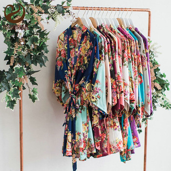 YUXINBRID New Wedding Bride Bridesmaid Floral Robe Satin Rayon Bathrobe Nightgown for Women Kimono Sleepwear Flower Plus Size цена 2017