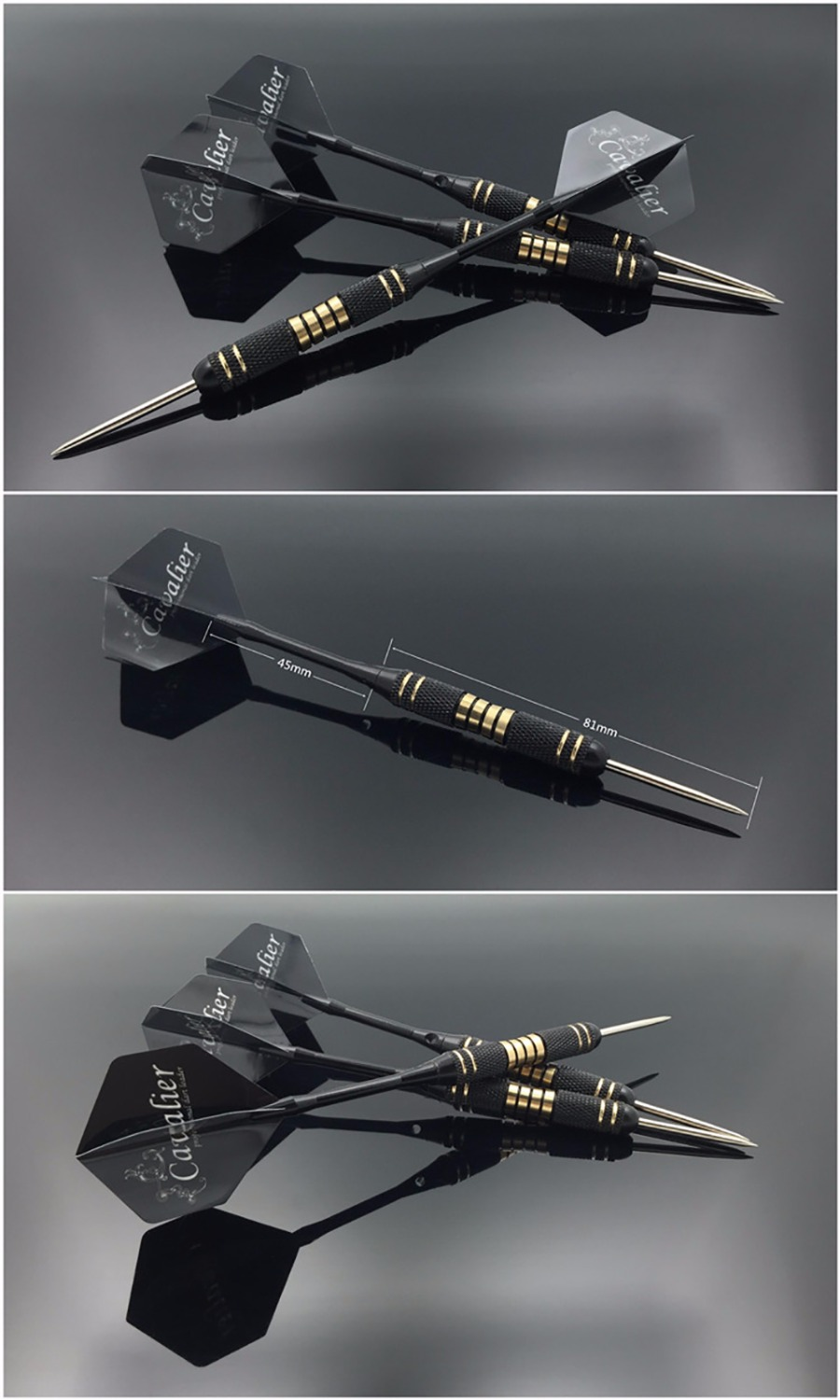 Купить с кэшбэком 3pcs/set Professional Darts Free Carry Box 24g 25g Black Golden Color Steel Tip Darts With Brass Darts Shafts  dart flights