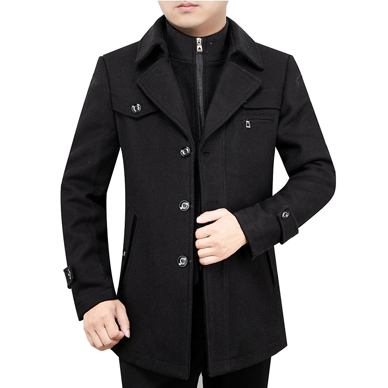 Men Wool Coat Winter Outerwear Warm Men Casual Jackets Coats Solid Mens Winter Trends Thick Mens Wool Overcoat Worsted Regular