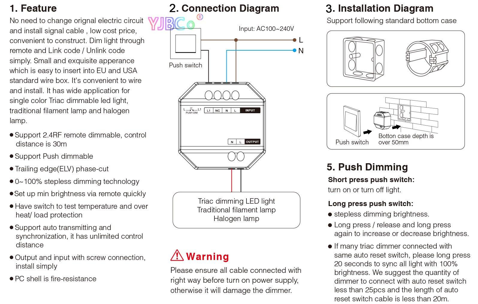 interruptor ac110v 220v TRI-C1 2.4ghz controle remoto