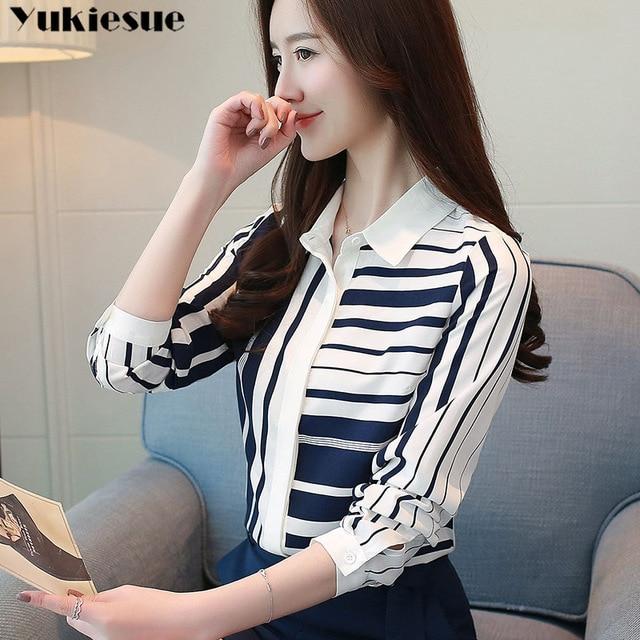 Classical Style Chiffon Blouse Fashion Women striped Long Sleeve Shirt Office Lady Women Tops Blusas Femininas Camisas Mujer 1