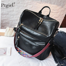 PU Leather Backpack Women 2019 Students School Bag Ptgirl Multifunction Travel Mochila Pink Black Vintage BackPack Shoulder Bag цена