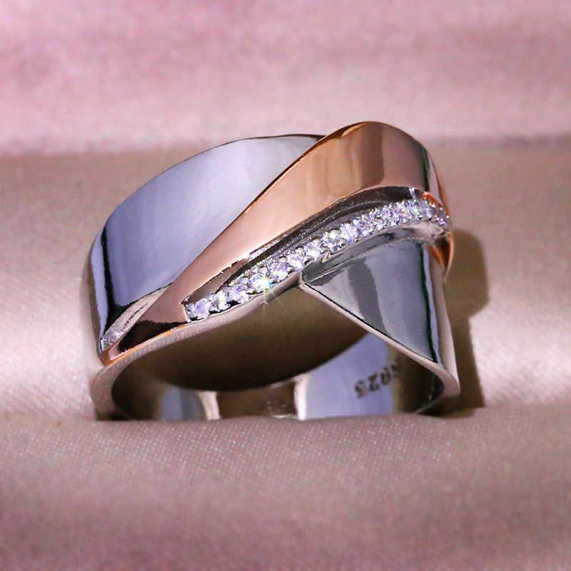 קסם נשי צלב אירוסין טבעת אלגנטי כסף עלה זהב קטן זירקון אבן טבעת בציר מסיבת חתונה לנשים
