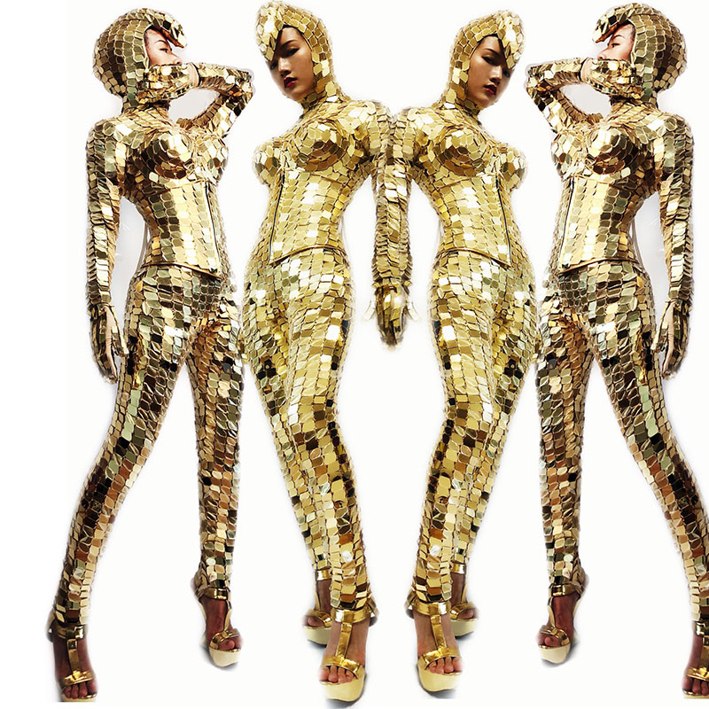 Shiny Gold Full Mirror Stage Costume Sets Large Elastic Hand-stitched Mirror Nightclub Bar Prom Team Stage Performance Outfit