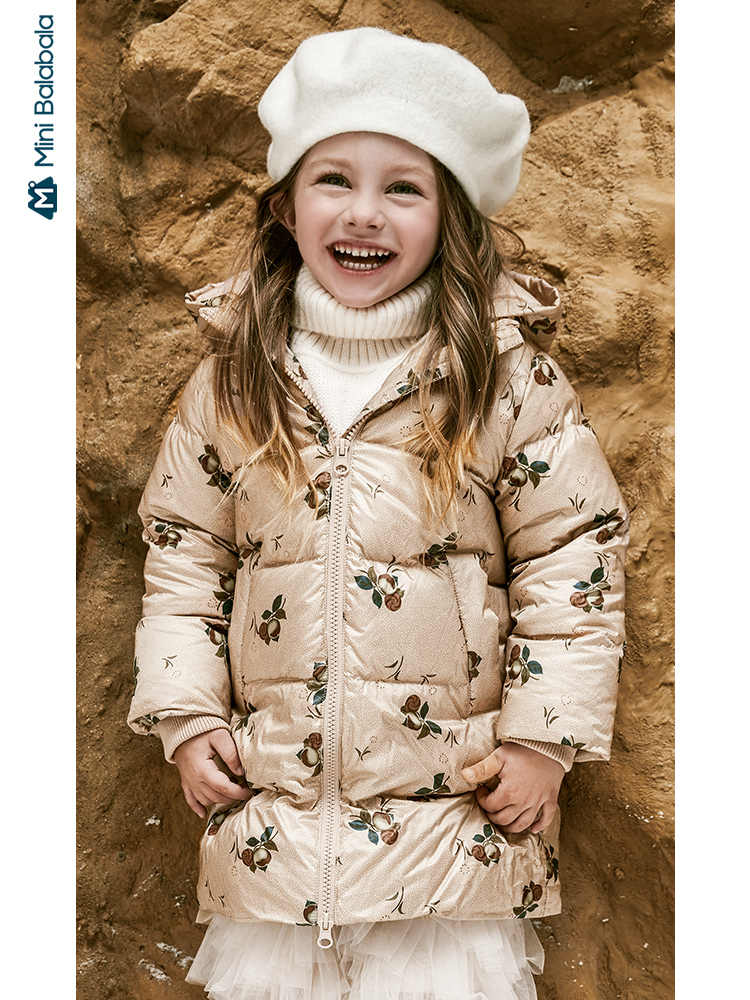 Minibalabala Children's down jacket girls hooded down jacket 2019 winter new style jacket