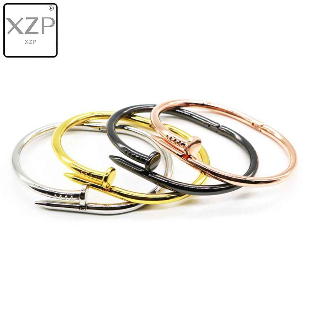 XZP Charming Gold Colour Women Cuff Nail Bangles Simple Style Elegant Metal Bracelet & Bangle For Women Accessories