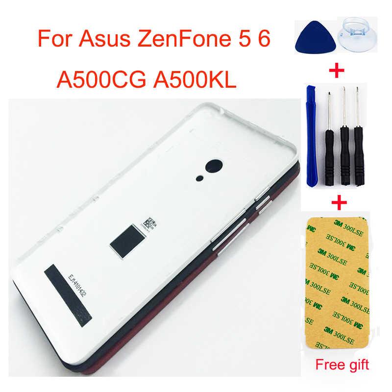 ل Asus ZenFone 5 6 A500CG A500KL A501CG T00J A600CG A601CG عودة غطاء البطارية الخلفي حالة غطاء باب البطارية مع الجانب زر