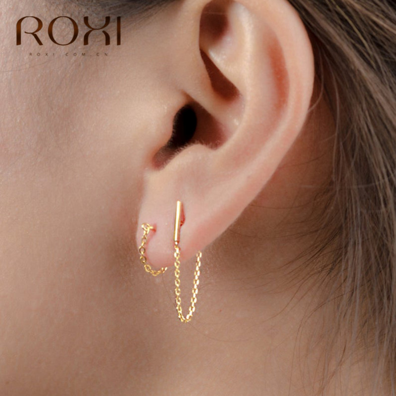 ROXI Minimalist 925 Sterling Silver Chain Drop Earrings For Women Gift Korean Jewelry Personality Hanging Dangle Earring Brincos
