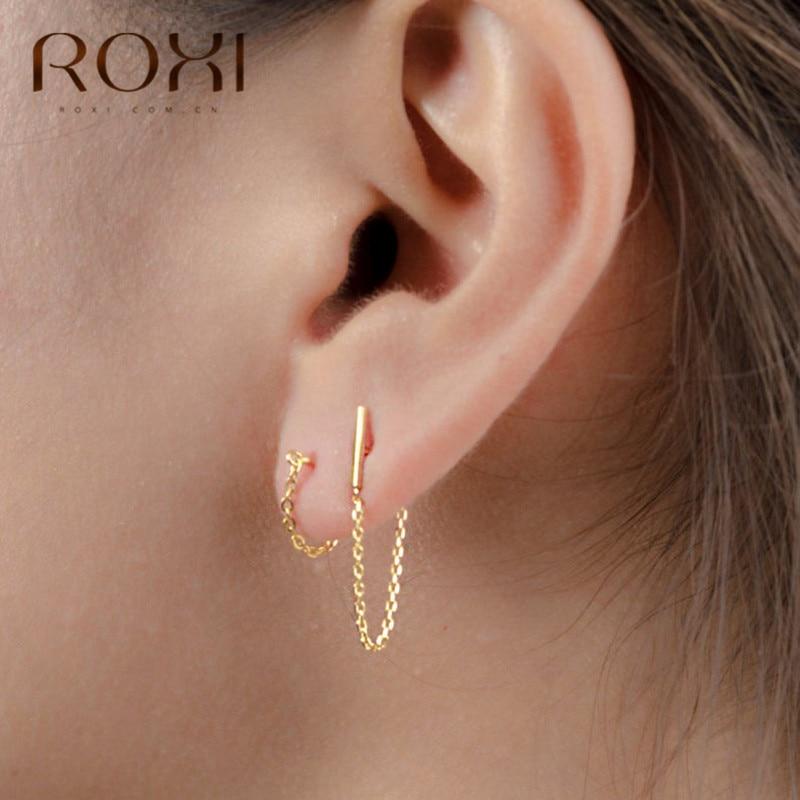 ROXI Minimalist 925 Sterling Silver Chain Drop Earrings For Women Gift Korean Jewelry Personality Hanging Dangle Earring Brincos