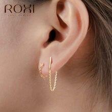 Roxi minimalista 925 prata esterlina corrente gota brincos para presente feminino coreano jóias personalidade pendurado balançar brinco brincos