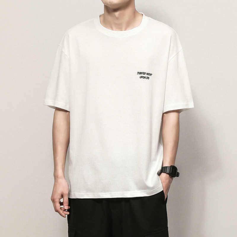 짧은 소매 티셔츠 남자 2020 여름 루스 티셔츠 탑 티즈 힙합 펑크 록 패션 의류 플러스 사이즈 M-4XL 5XL O 넥
