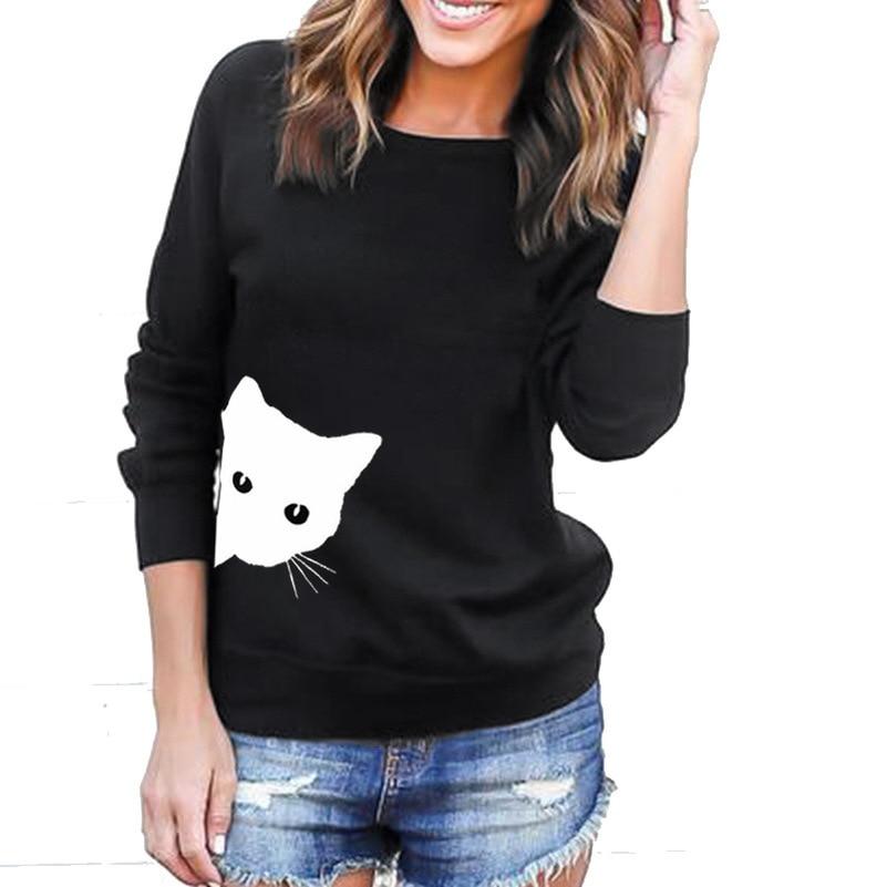 Cat Cute Solid Hoodies Sweatshirts 2019 Women Casual Kawaii Harajuku Fashion Punk For Girls Clothing European Tops Korean