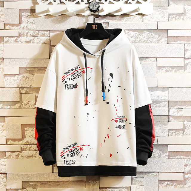 CYXZFTROFL 2019 Men Hoodie Patchwork Trendy Casual Sweatshirt Streetwear Hip Hop Ctudent Male Printed Clothing Pullover Hoodies