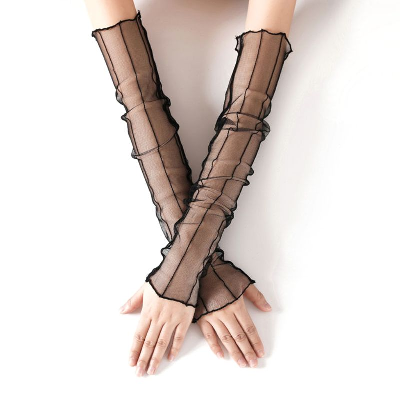 Women Women Girls Summer Elbow Length UV Protection Long Gloves Sheer Mesh Lace Solid Color Fingerless Sunscreen Ultra-Thin Arm