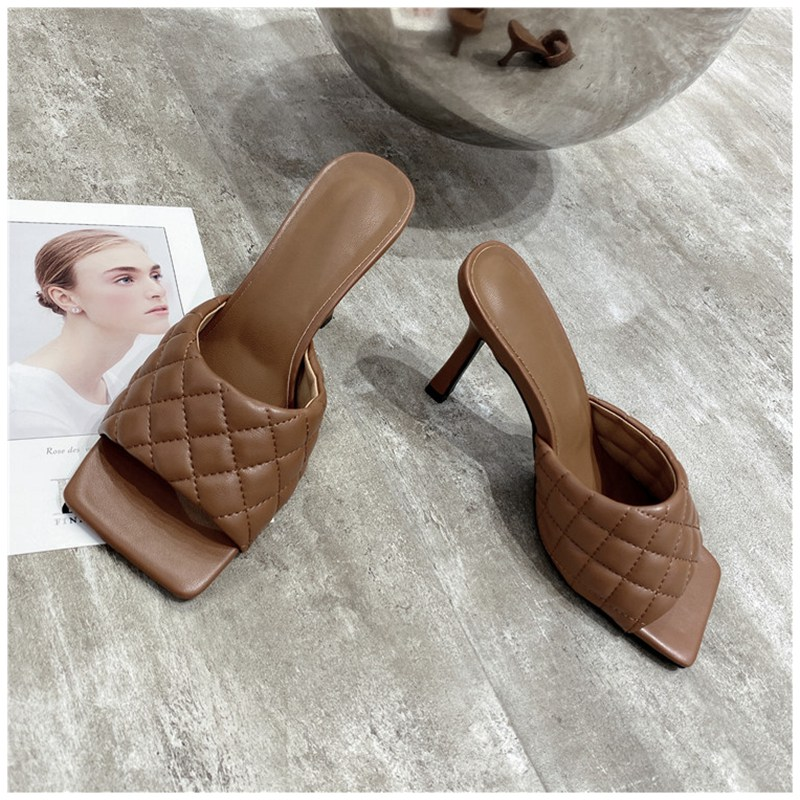 Women Square Toe Thin High Heel Slides