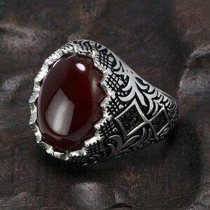 Image 2 - מובטח 925 סטרלינג כסף שחור טבעות רטרו בציר פרחים תורכי טבעת תכשיטי עבור גברים עם אבן טורקיה תכשיטים