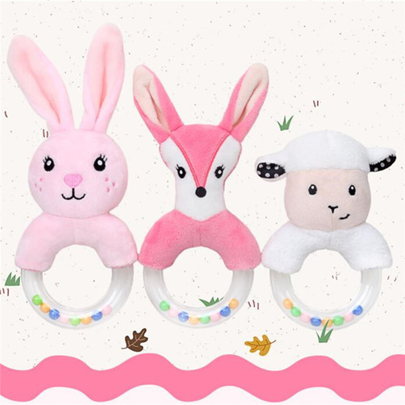 Baby Plush Toys Cute Cartoon Plush Rabbit Fox Sheep Hand Bell Round Hand Rattling Newborn Boys Girls Toys Gift