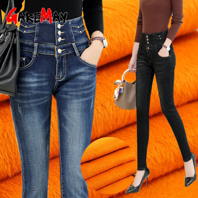 Зимние женские джинсы с высокой талией, джинсовые обтягивающие теплые плотные джинсы размера плюс, вельветовые флисовые джинсы для женщин, ...