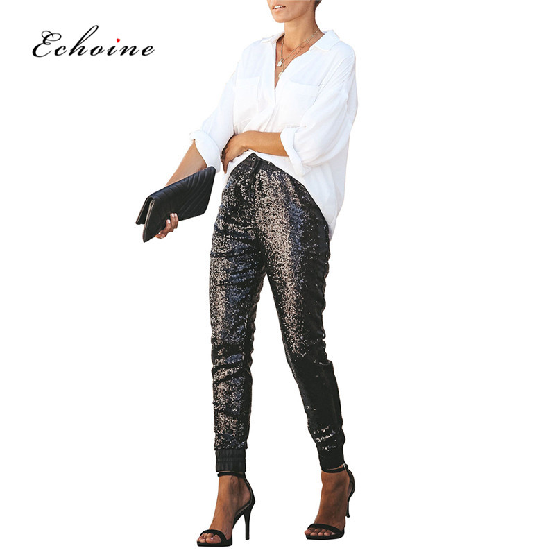 Echoine Women Fashion Sequin Long Pencil Pants Elastic PU Leather High Waist Drawstring Black Party Ladies Trousers Streetwear