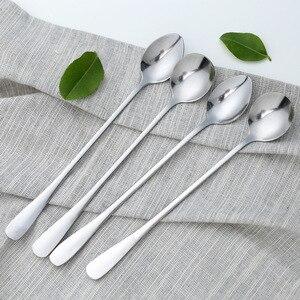 Stainless Steel Coffee Spoon Long Handle Ice Cream Dessert Tea Spoon For Picnic Drinkware Tableware Kitchen Accessories