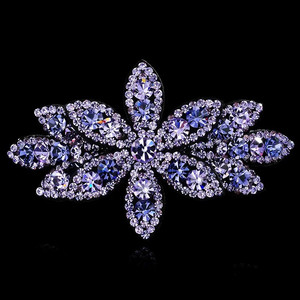 Luxury Female Girl Purple Stone Hair Clips Cute Women Big Snowflake Hair Band Vintage Wedding Hair Accessories