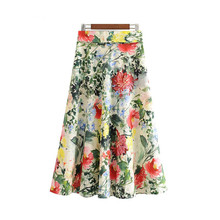 Women Skirt Floral Print Pleated Skirt Beach Style Sashes Pleated Back Zipper Fly Midi Skirt Design Female Stylish Casual A-line все цены
