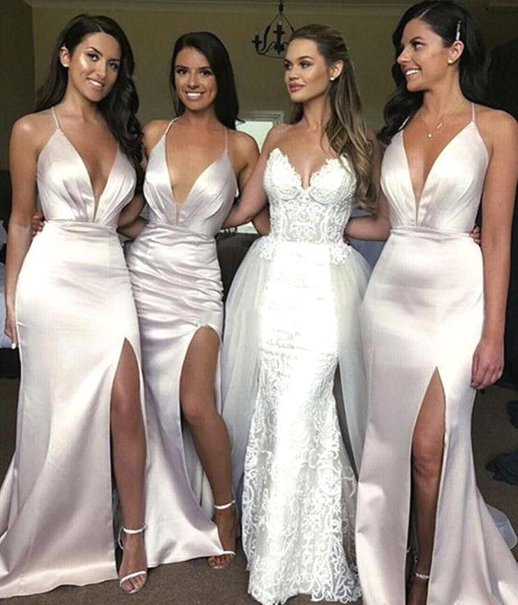 2020 New Style Satin  Split Mermaid Bridesmaid Dresses  Deep V Neck African Wedding Guest Gown Cheap Long Prom Dresses