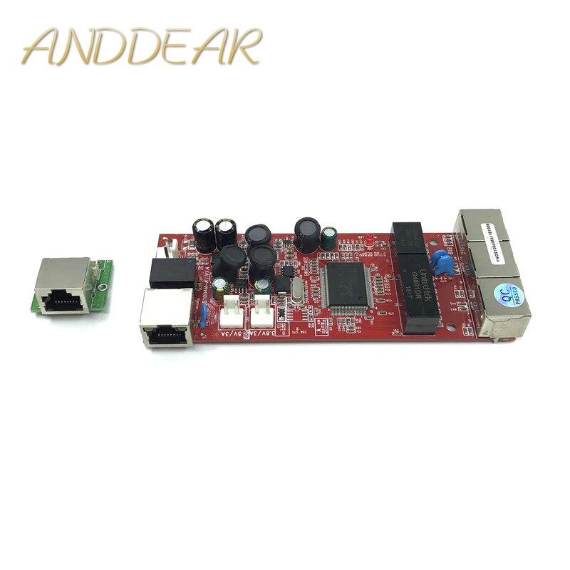 Anahtar modülü 4 port 10/100/1000 mbps Un yönetimi Ethernet anahtarı RJ45 Ethernet portu yönetilmeyen ticari anahtar title=