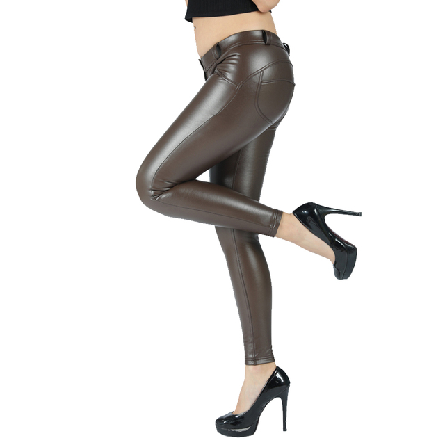 Melody eco leather legging seamless pants full length faux leather maroon leggings women joggers mid rise button fly 4