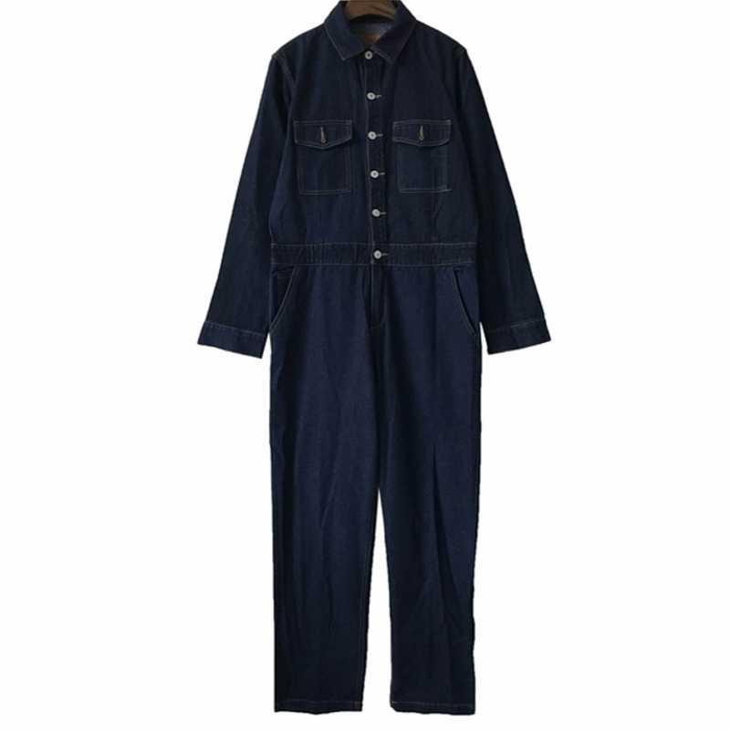 O envio gratuito de 2020 nova moda streetwear feminino denim macacão manga longa harajuku alta qualidade calças jeans