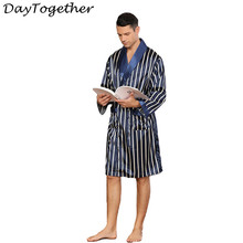 Men Sleepwear Robes and Shorts Kimono Man Silk Robe Long Sleeve Stripe Pajama Men's Plus Size Sleepwear Bathrobe