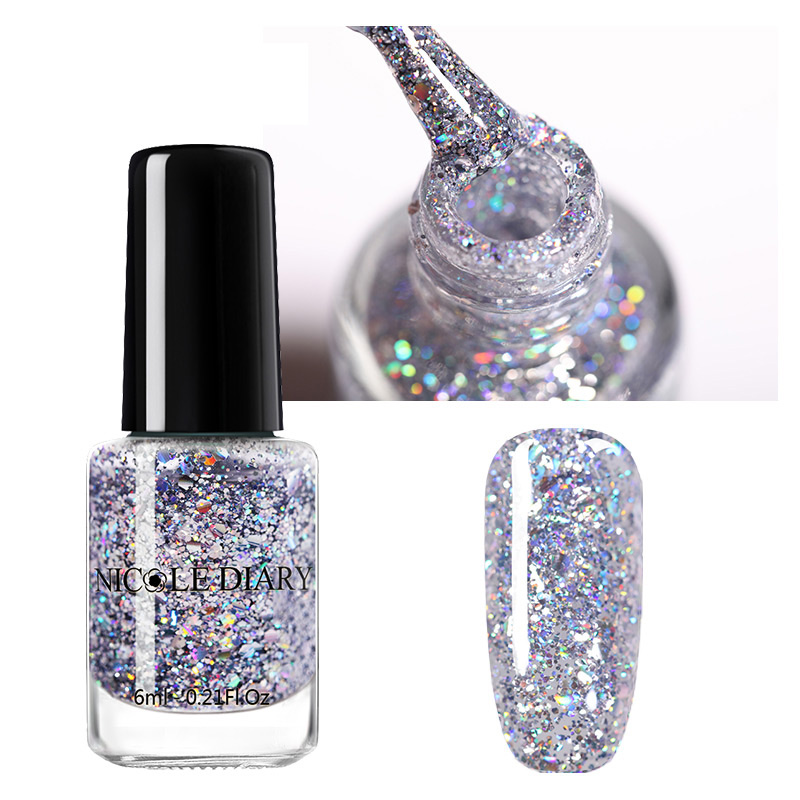 NICOLE DIARY Nail Polish  Glitter Sequins Shing Cat Eye Nail Art Varnish Magnetic Varnish Nail Designs DIY